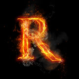 Fire letter R of burning flame light. Fire letter R of burning flame. Flaming burn font or bonfire alphabet text with sizzling smoke and fiery or blazing shining Stock Photography