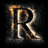 Fire letter R Royalty Free Stock Photo