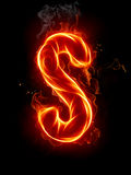 Fire letter S. A series of fiery letters and numbers Stock Image