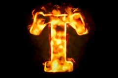 Fire letter T of burning flame light, 3D rendering. Isolated on black background Royalty Free Stock Photo