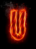 Fire letter U Royalty Free Stock Image