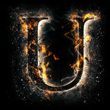 Fire letter U Stock Image
