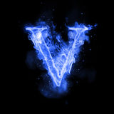 Fire letter V of burning flame light. Fire letter V of burning blue flame. Flaming burn font or bonfire alphabet text with sizzling smoke and fiery or blazing Stock Images