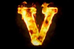 Fire letter V of burning flame light, 3D rendering Stock Photos
