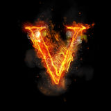Fire letter V of burning flame light Royalty Free Stock Images