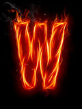 Fire letter W Royalty Free Stock Photo