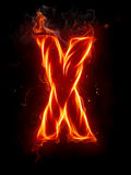 Fire letter X Stock Photography