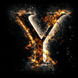 Fire letter Y. For your design Stock Photos