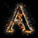 Fire letter A. Royalty Free Stock Images