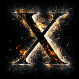 Fire letter X. For your design Stock Photo