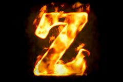 Fire letter Z of burning flame light, 3D rendering. Isolated on black background Stock Photo