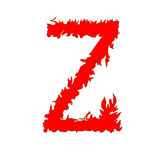 Fire letter Z isolated on white background with clipping path.  Stock Illustration
