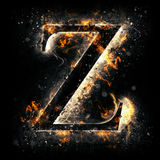 Fire letter Z. For your design Stock Images