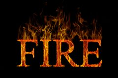Fire lettering english burning Royalty Free Stock Image