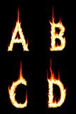 Fire Letters A, B, C, D. The Letter A, B, C, and D on Fire Stock Image