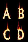 Fire Letters A, B, C, D Stock Image
