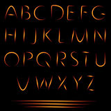 Fire Letters. Burning Font. Glowing Alphabet. Vector. No Mesh Used Stock Image
