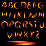Fire Letters. Burning Font. Glowing Alphabet. Vector. No Mesh Used Stock Photography