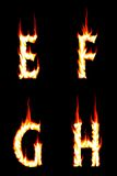 Fire Letters E, F, G, H. The Letter E, F, G, and H on Fire Stock Photography