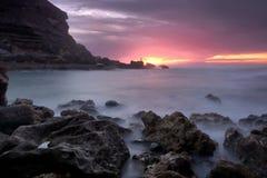 Fire Light. Samarra beach, coast of Sintra, Portugal Royalty Free Stock Photography