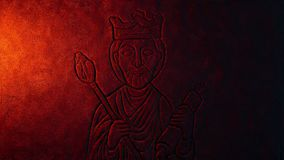 Fire lights king carving on rock wall royalty free illustration
