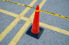 Fire Line. Yellow taped fire line with cone - do not cross Stock Photos