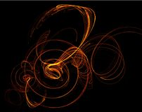 Fire Line Spiral Ripple. Special effect abstract, dark background, horizontal Royalty Free Stock Images