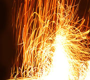Fire line splash. Bonfire flames on a black background Royalty Free Stock Photo