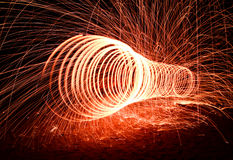 Fire line  by steel wool technical Royalty Free Stock Images
