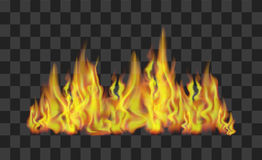 Fire Line on Transparent Background. Vector. Realistic Bright Fire Flames Line on Transparent Background Light Effect for Design. Vector illustration Royalty Free Stock Photos