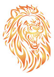 Fire lion head. Simple icon illustration of a fire lion head in white Stock Photos