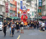 The Fire Lion Procession in Southern Taiwan Stock Images