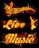 Fire Live Music Text and Stave. Fire live music set with text, jumping person and  musical stave Stock Photos