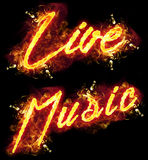 Fire Text Live Music. Fire live music word badge with burning flames Stock Image