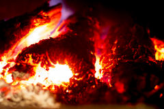 Fire. Log burning in the stove for baths Stock Photography