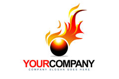 Fire Logo. An illustration of a business company logo representing fire ball with flames Stock Images