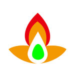 A fire logo with green egg in the center. And like a flower Royalty Free Stock Photography