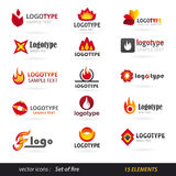 Fire logo set Royalty Free Stock Photography