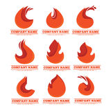 Fire logo. Stylized fire flame emblems for your logo design Stock Photo