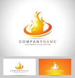 Fire Logo Vector. Fire Flame Logo. Creative vector logo design with hot fire flames and business card template Stock Photo