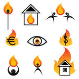 Fire logos. Set of logos with firefor your design. EPS and JPEG Stock Images