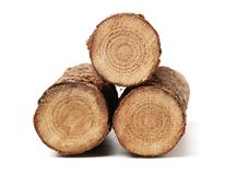 Fire logs whole round and cut isolated wood lumber. On white background royalty free stock images