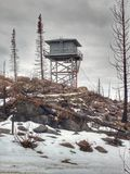 Fire Lookout Tower. Buck Mountain Lookout in the winter. Conconully, Washington stock images