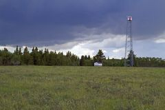 Fire lookout tower and summer storm Stock Photography