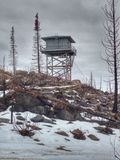 Fire lookout tower. In the winter stock image