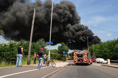 Fire at a lorry depot Stock Photography