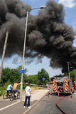 A fire at a lorry depot, in Awsworth Royalty Free Stock Photo