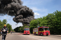 A fire at a lorry depot, in Awsworth Stock Image