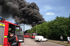 A fire at a lorry depot, in Awsworth Royalty Free Stock Photography