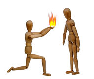 Fire of love. Two wooden dolls and fire Royalty Free Stock Photos